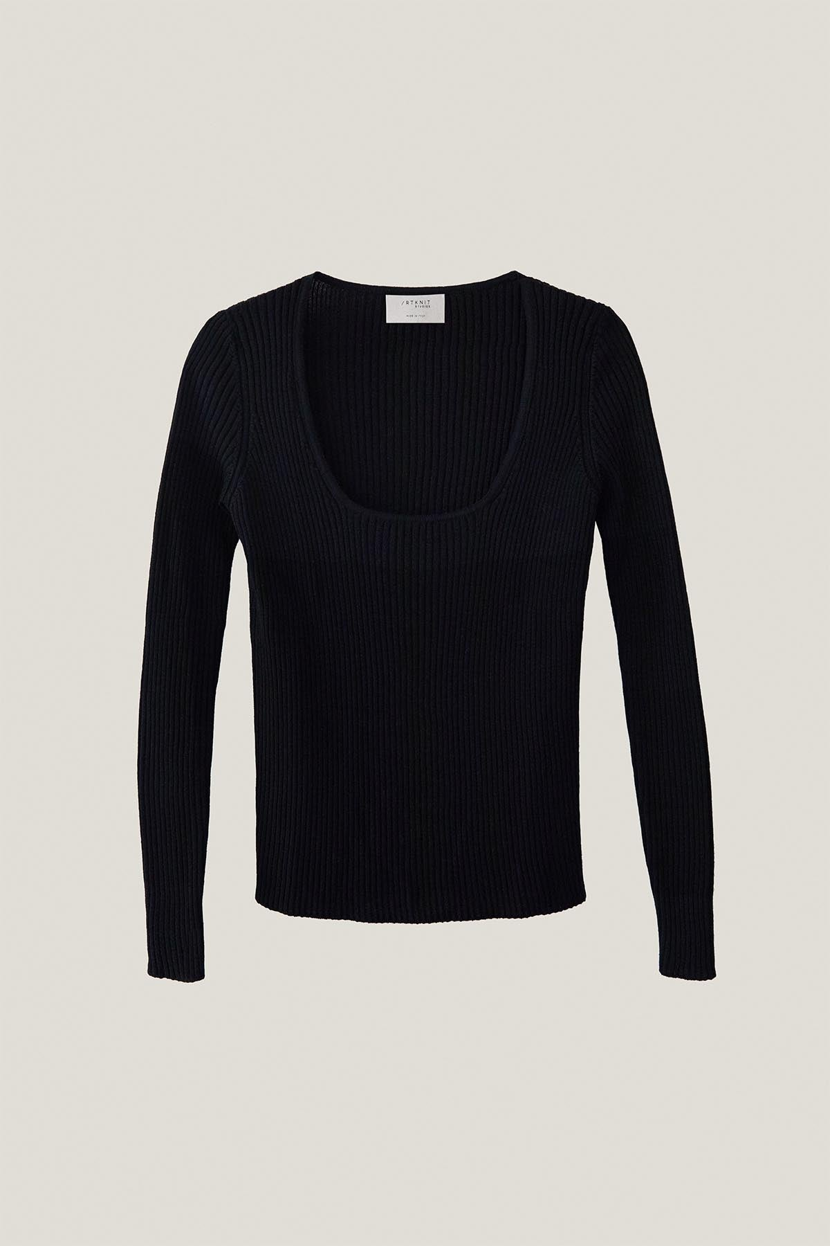 The Merino Wool U-Neck Sweater- Black