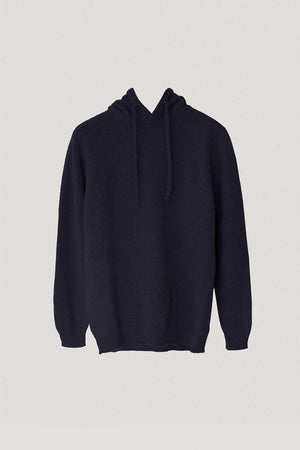 The Upcycled Cashmere hoodie - Blue Navy