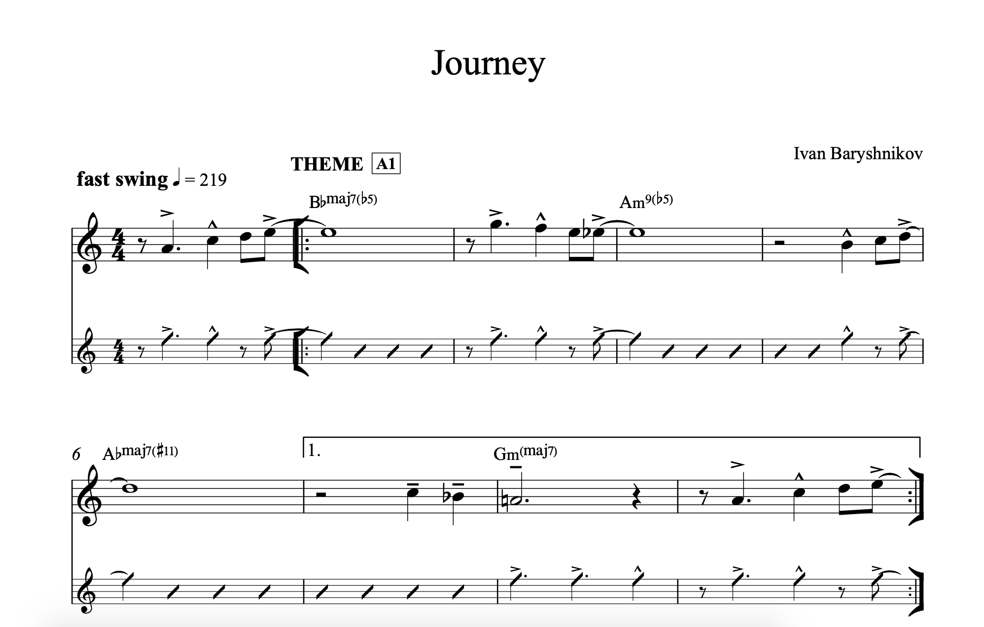 Journey (2018) - All Music Sheet in PDF (Bb and Concert)