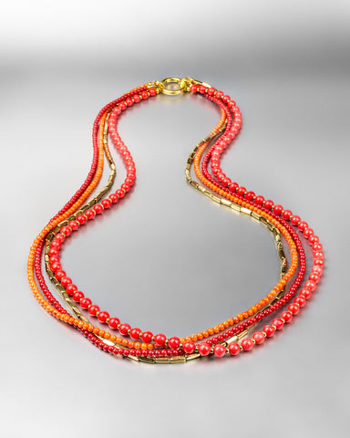 Coral & Brass Multi-Strand Necklace