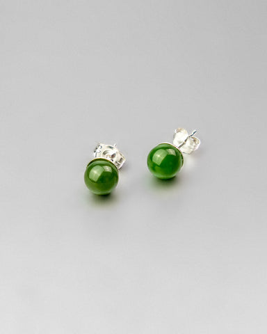 Green Jade Earring Studs 6mm