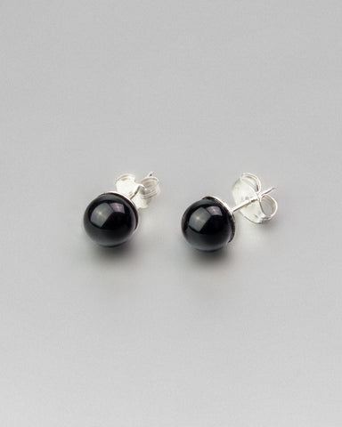 Black Onyx Earring Studs 6mm