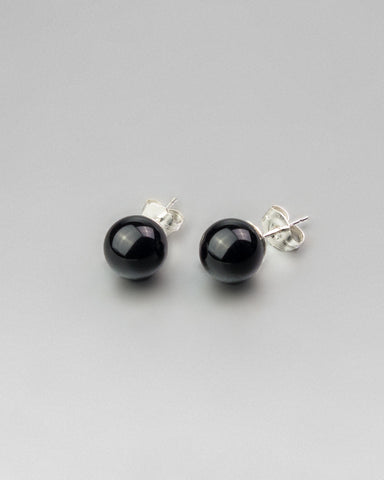 Black Onyx Earring Studs 8mm