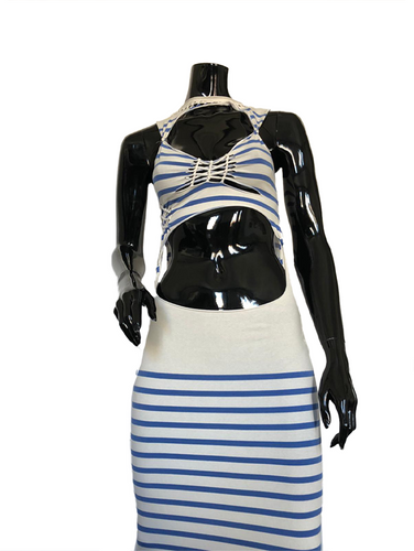 Jean Paul Gaultier Maille SS 2001 Cut-out Striped Dress