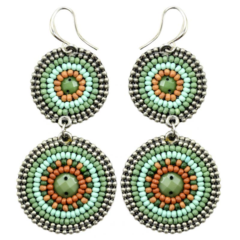 Seed Bead  2 Circle Hand Beaded Earrings in Pacific Green