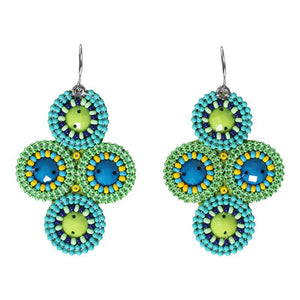 Seed bead 4 Circles Earrings-Cool Colors