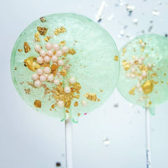 Sea Foam Green & Pink Pear Lollipops