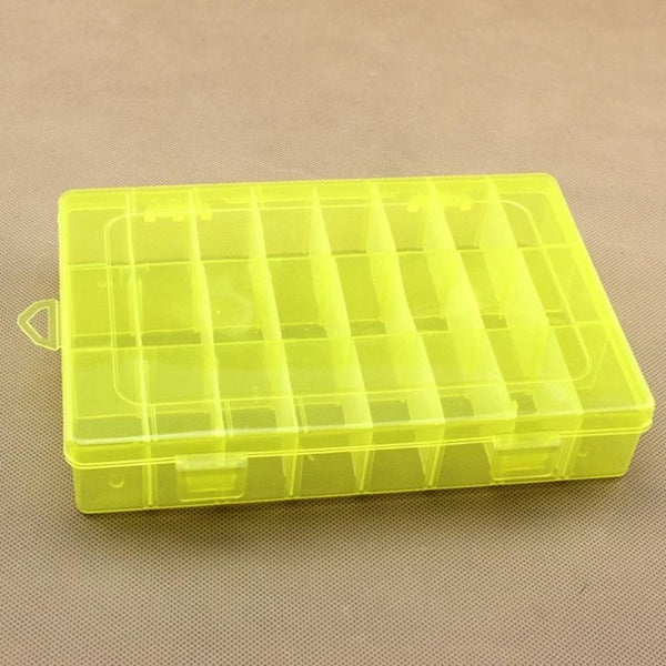 Life Essential 24 Compartment Storage Box Practical Adjustable Plastic Case for Bead Rings Jewelry Display Organizer