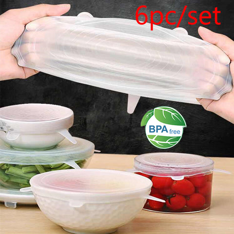 6pcs food grade Keeping Food Fresh Wrap Reusable high stretch Silicone Food Wraps Seal Vacuum bowl Cover Stretch Lid