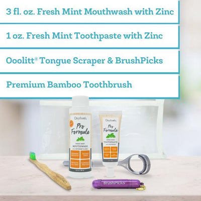 Toothpaste for cleaning dentures, bridges, crowns, and veneers. Low abrasion zinc toothpaste travel kit.