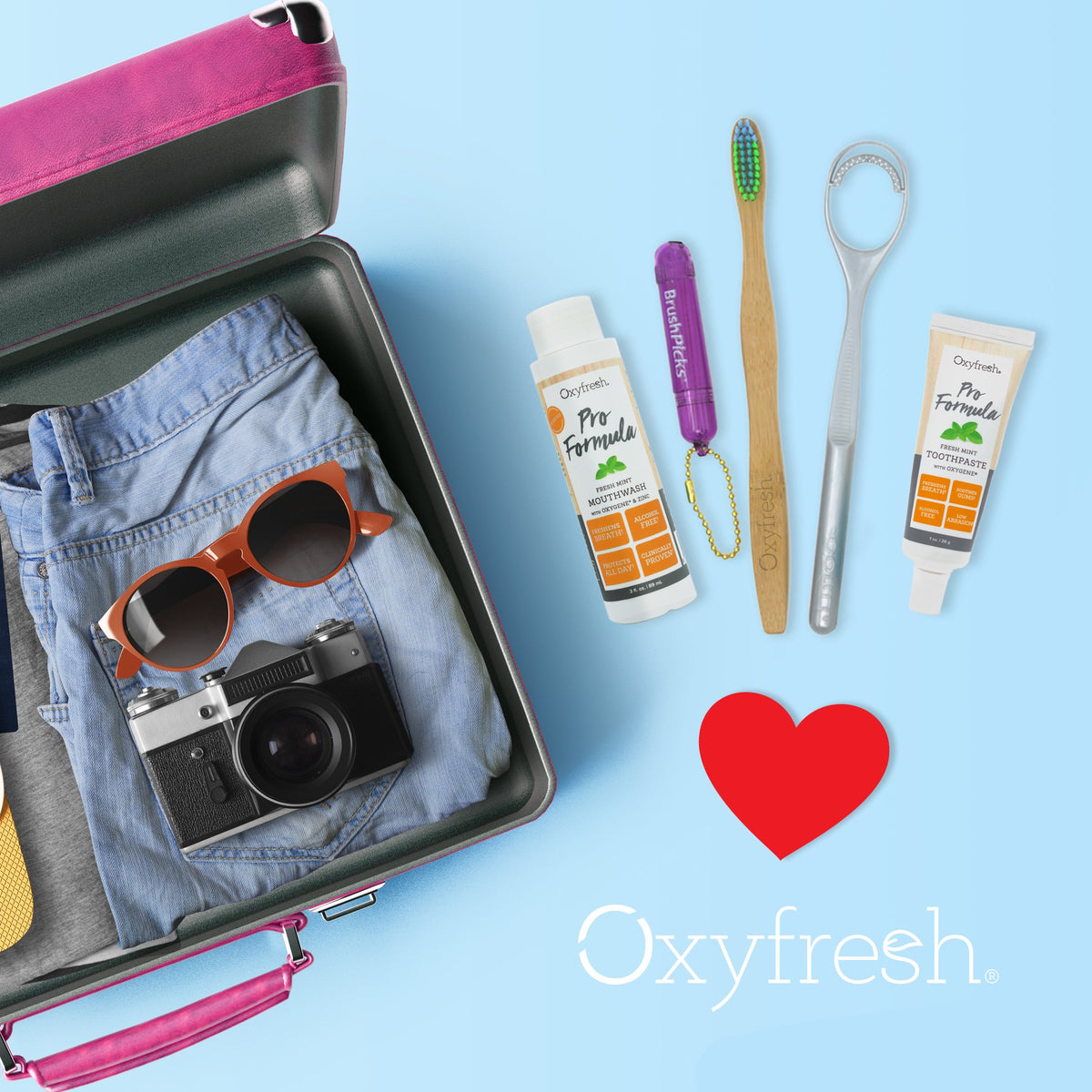 Take fresh breath and gentle dental care on every trip with our Pro Formula Zinc Toothpaste Travel Kit
