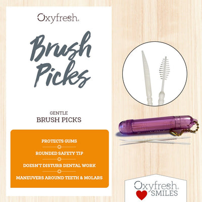 Oxyfresh - Gentle brush picks with rounded safety tip great for getting under and between dental work
