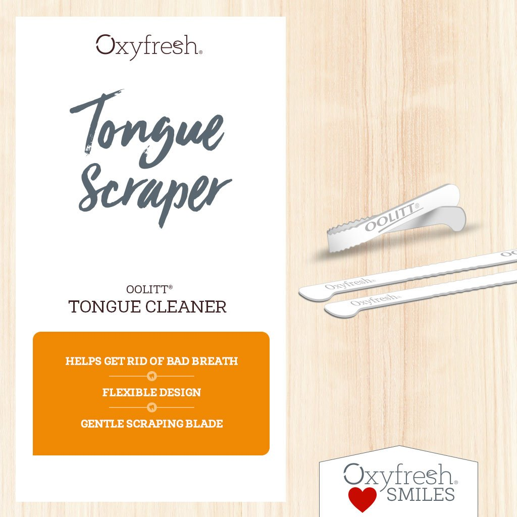 Oxyfresh - flexible tongue scraper with a gentle scraping blade helps get rid of bad breath