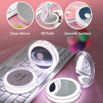 Mini LED Makeup Mirror Portable Fold LED Mirror Rechargeable USB Hand Held Travel Mirror Wireless USB Charging Cosmetic Mirror