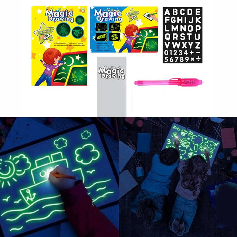 1PC A3 A4 A5 LED Luminous Draw And Light Drawing Board Fun Developing Toy Kids Educational Magic Painting