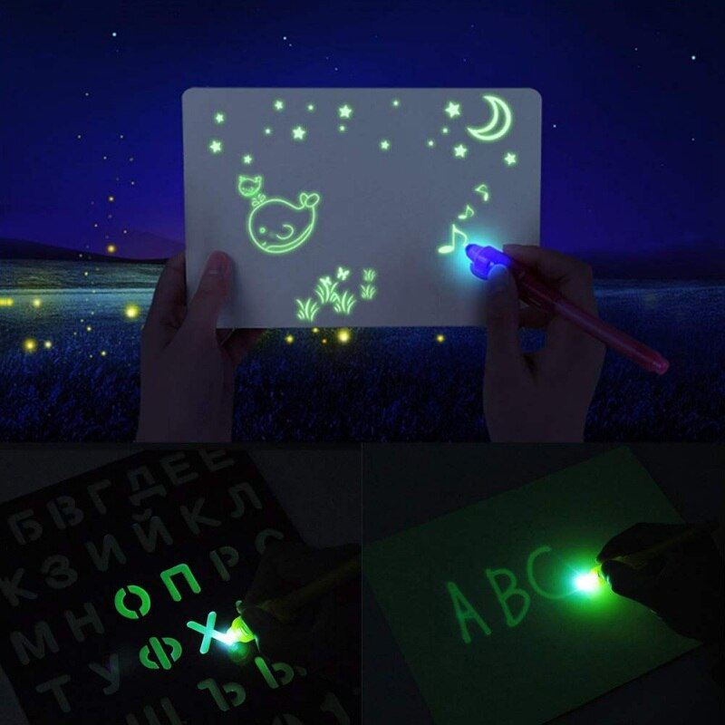 DIY Educaitonal LED Magic Draw Luminous Graffiti Doodle Drawing Tablet Board Light In Dark Children Kids Magic Paint Toy Big