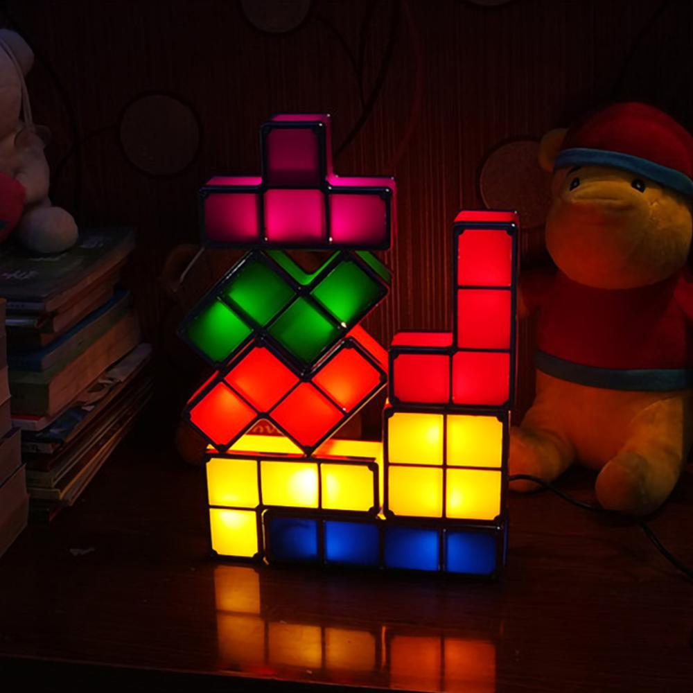 Baby Night Light DIY Tetris Puzzle Lights Stackable Cube Novelty Toy Bedside Colorful LED Lamp Decor Children' s Gift