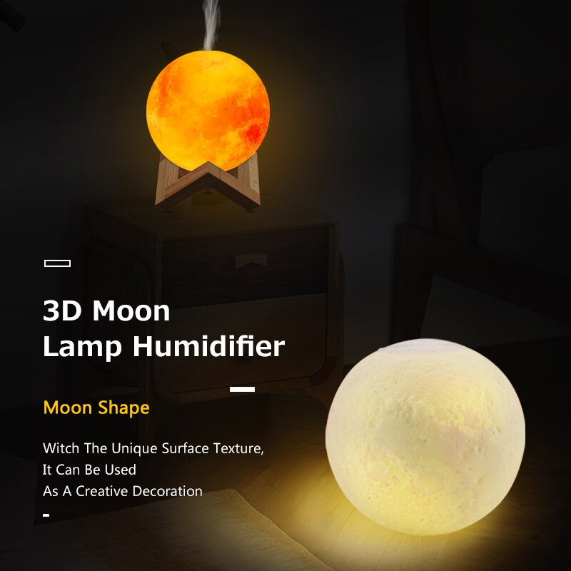 Ultrasonic Humidifier Essential Oil Diffuser For Aromatherapy 880ml 3D Moon Lamp Light with USB Mist Purifier