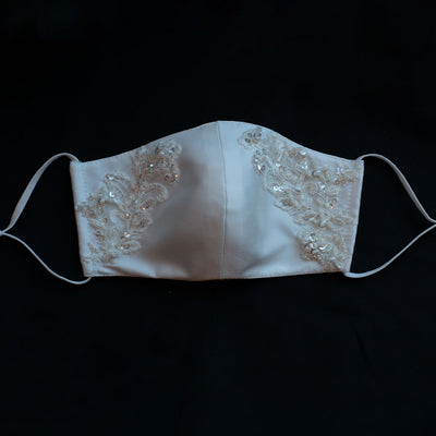 Hand embroidered re-usable, bridal facemask. Four layers of silk Mikado material with floral lace glass beading