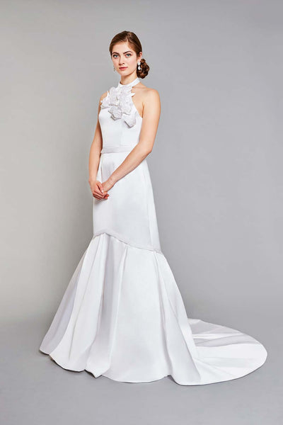 Bride wearing white silk halter mermaid wedding dress