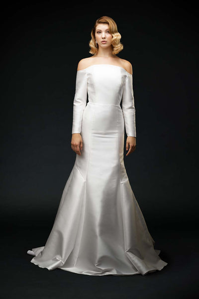 Beautiful silk mikado, off-the-shoulder, wedding dress with a soft puddle skirt train wedding dress front view