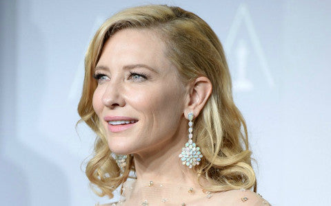 Cate Blanchett wears Chopard opal earrings when she won an Academy Award for best actress