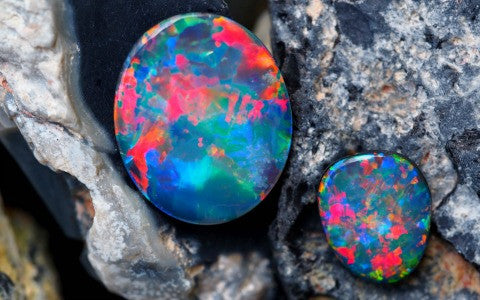 An image of two bright and beautiful Australian opal gemstones