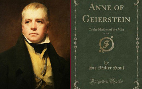 An image of Sir Walter Scott and the cover of his Book Anne of Geierstein