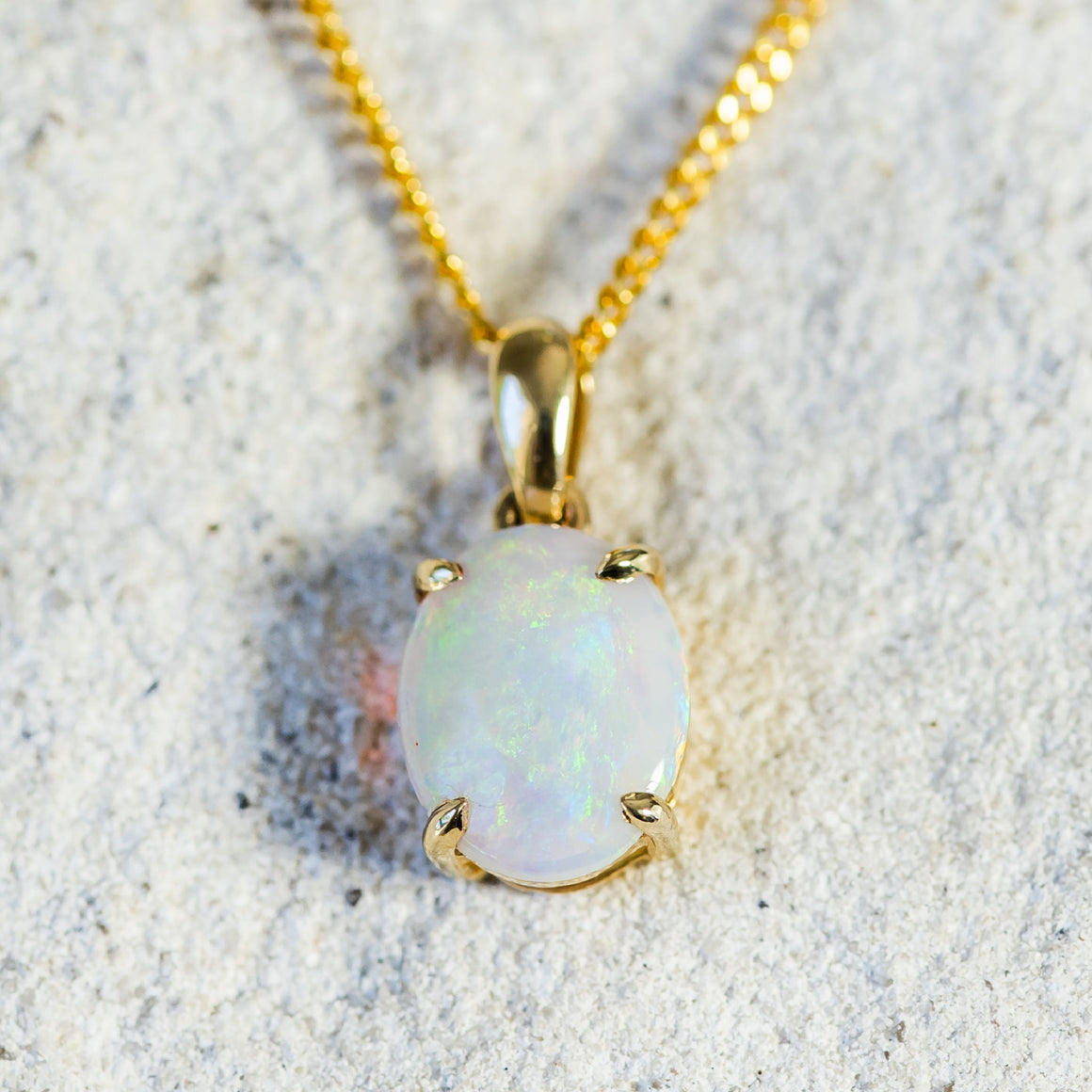 Gold Solid Opal Necklace Pendant