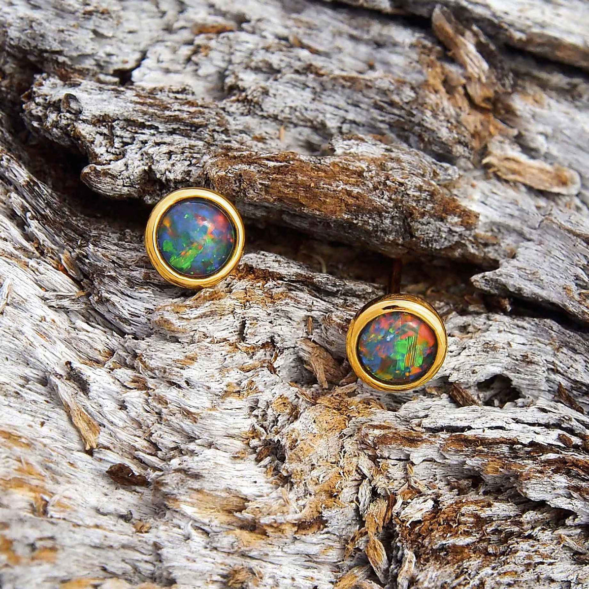 Classic gold plated sterling silver round stud earrings bezel set with multi-coloured triplet opals