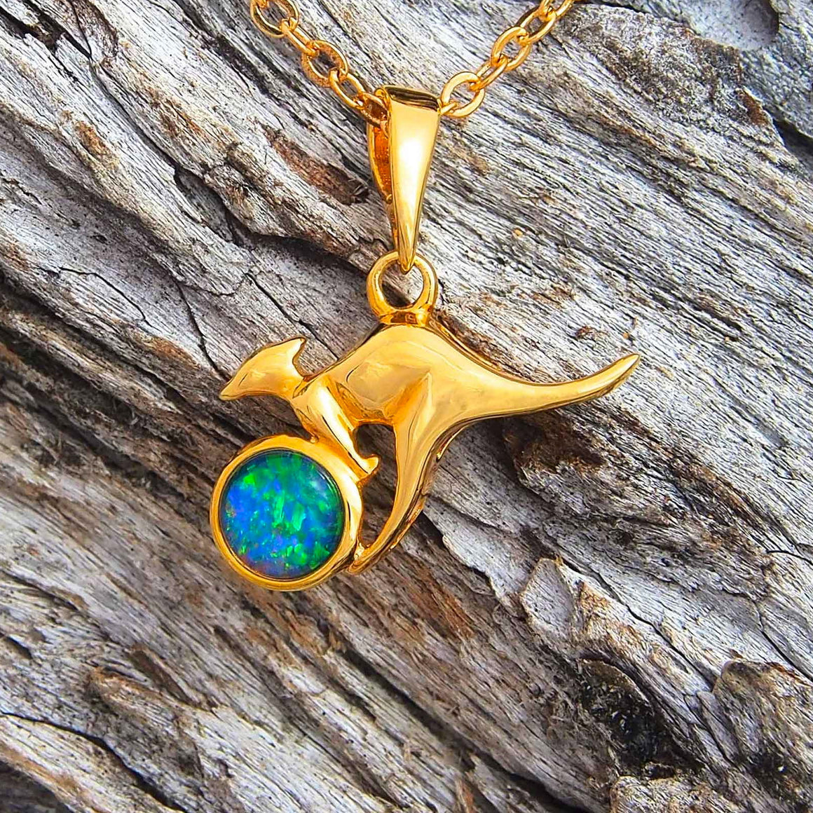 Gold plated sterling silver kangaroo design necklace pendant bezel set with a green, blue and red round triplet opal