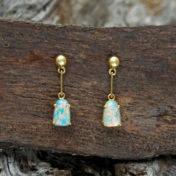 Delicate 18ct yellow gold drop stud earrings claw set with beautiful multi-colour South Australian solid crystal opals
