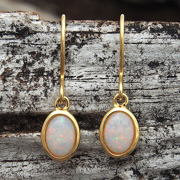 Gold plated sterling silver shepherd hook earrings bezel set with multi-colour solid South Australian light opals.