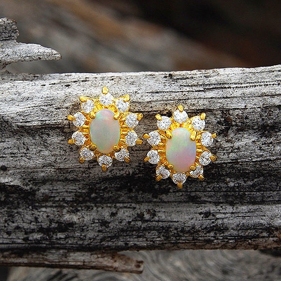 "Classic gold plated sterling silver ""Princess Diana"" earrings claw set with oval multi-colour South Australian crystal opals surrounded with diamantes"
