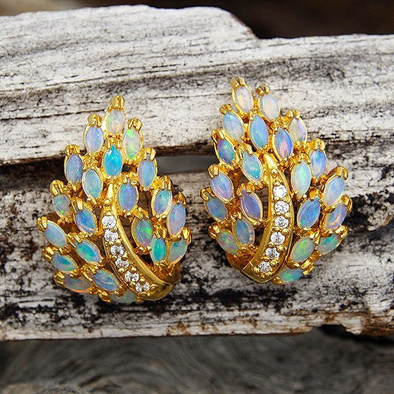 Stunning ornate gold plated sterling silver cluster earrings claw set with 42 multi-colour marquise-cut South Australian crystal opals and 12 diamantes.