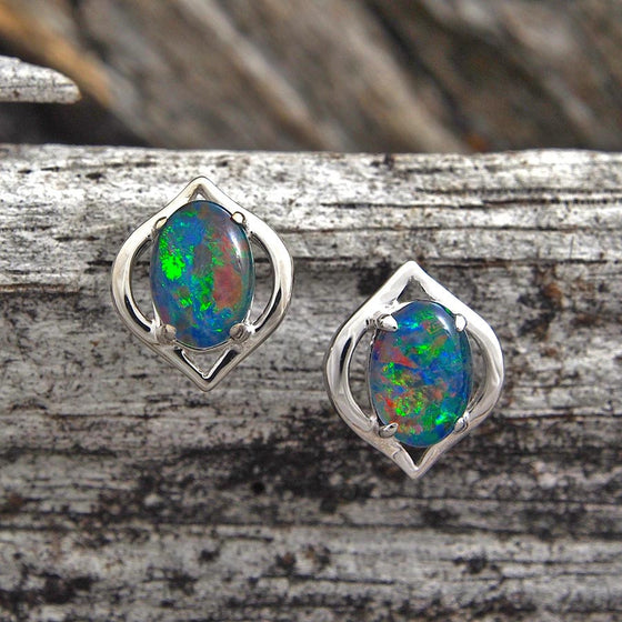 Sterling silver scallop design stud earrings claw set with multi-colour oval triplet opals.