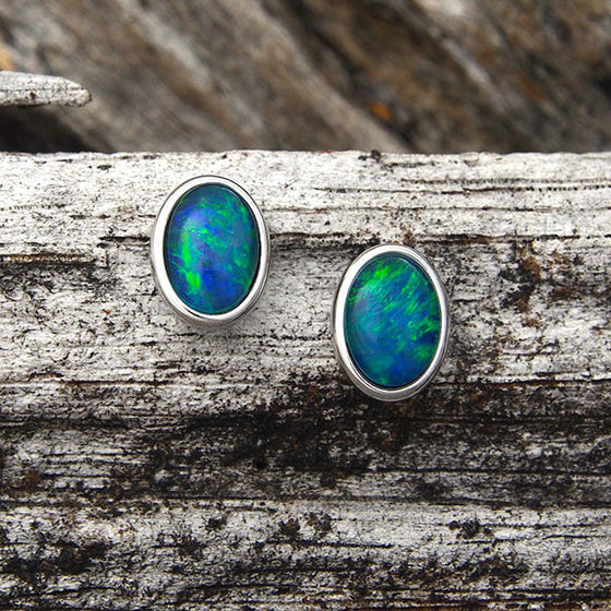 Silver Triplet Opal Earrings