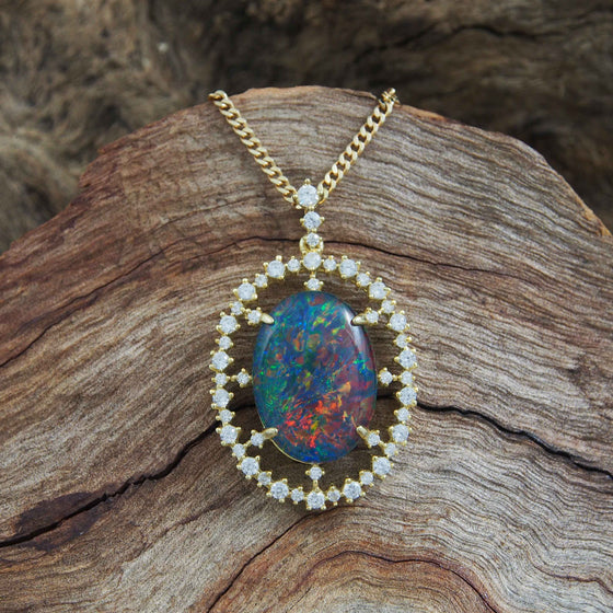 Gold Plated Triplet Opal Necklace Pendant