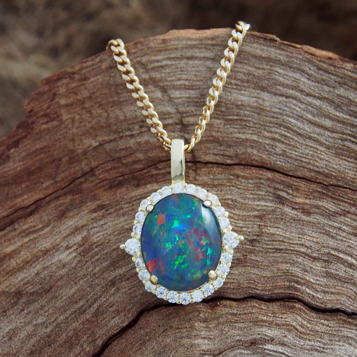 Gold Plated Triplet Opal Necklace Pedant