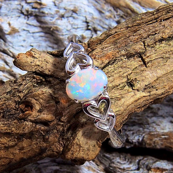 Silver Solid Opal Ring