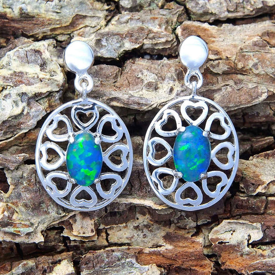 Heart design sterling silver drop-style stud earrings claw set with green and blue oval triplet opals