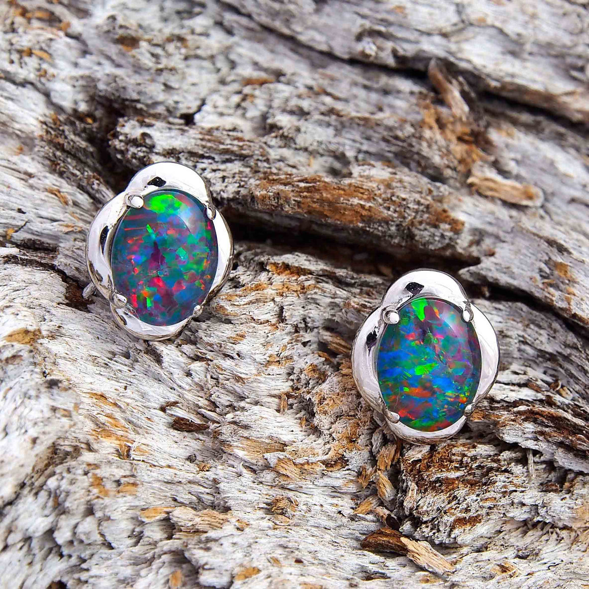 Sterling silver scallop design stud earrings claw set with multi-colour oval triplet opals