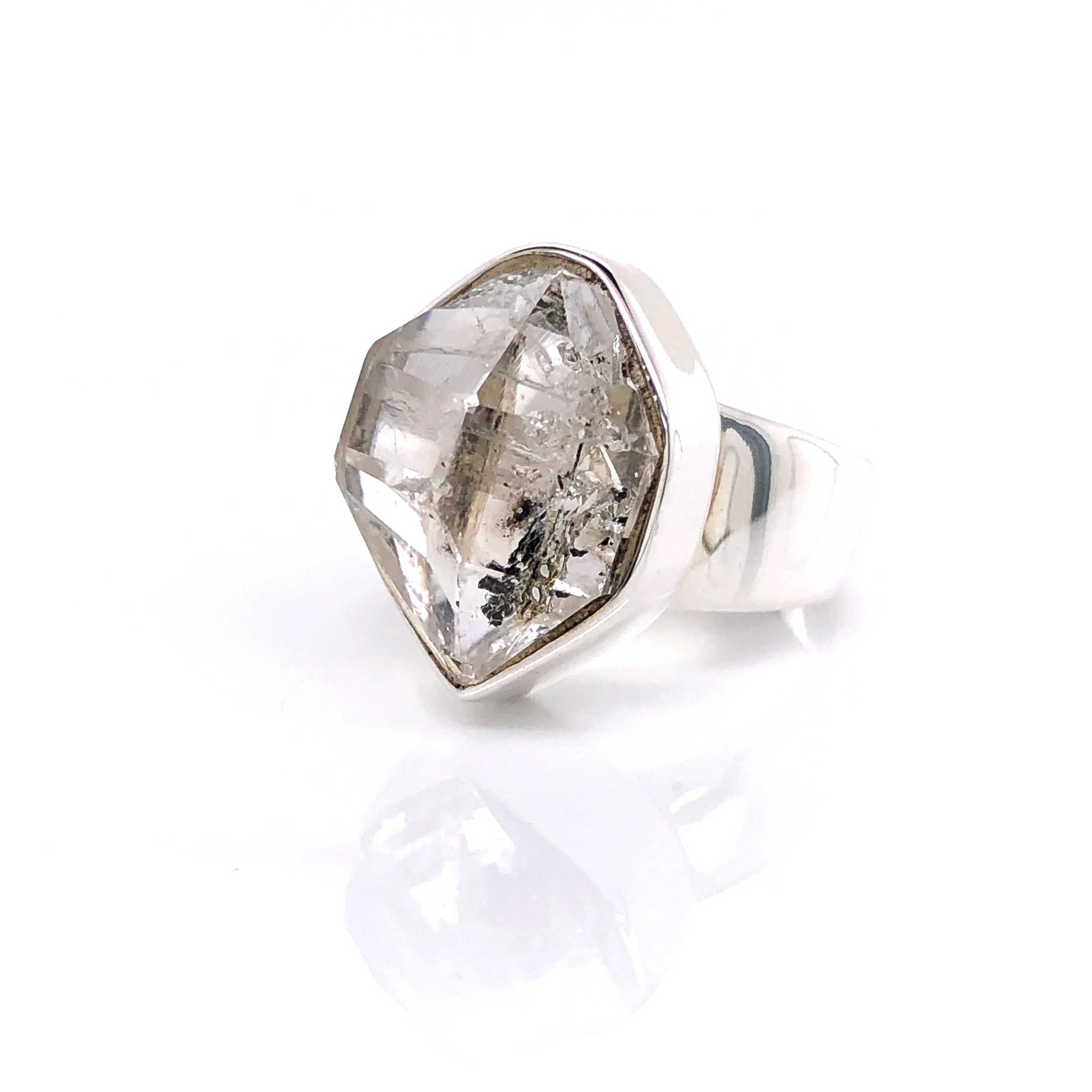 Sterling Silver Natural Herkimer Diamond Black Onyx Ring Size 6 double-terminated quartz crystal ring Natural Stone Ring size 6 Diamond Ring