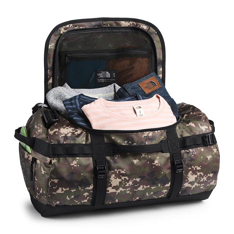 Buy The North Face Base Camp Duffel Bag 50L (S) - Burnt Olive Green Digi Camo/TNF Black Open Main Compartment | Benny's Boardroom