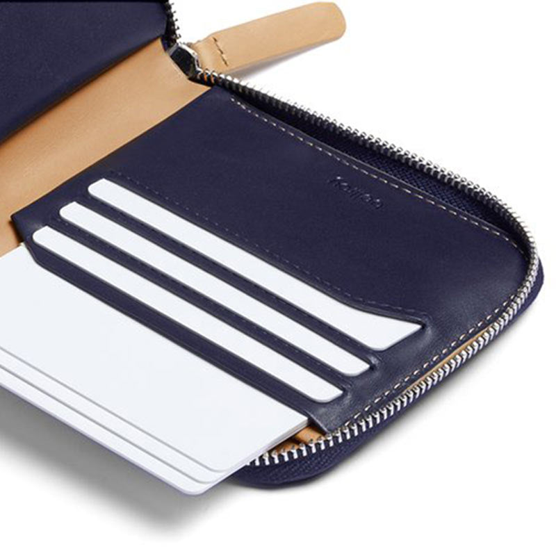 Buy Online Bellroy Zip Wallet - Navy Clever Card Storage | Benny's Boardroom