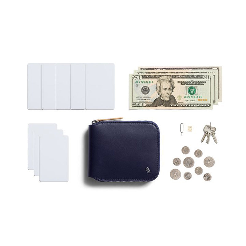 Buy Online Bellroy Zip Wallet - Navy Surprising Storage | Benny's Boardroom