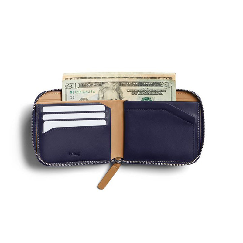 Buy Online Bellroy Zip Wallet - Navy USD Currency | Benny's Boardroom