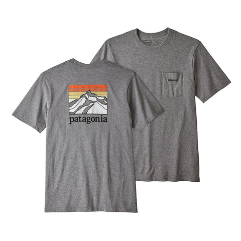 Buy Online Patagonia Men's Line Logo Ridge Pocket Responsibili-Tee - Gravel Heather | Benny's Boardroom 38441