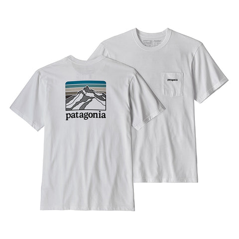 Buy Patagonia Men's Line Logo Ridge Pocket Responsibili-Tee Online - White | Benny's Boardroom 38441