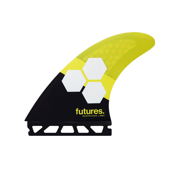 Buy Futures Fins AM2 Honeycomb Large Thruster Fins - Black/Yellow | Benny's Boardroom